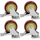 "Red Locking 4"" Swivel Caster/Wheel (4 Pack)"
