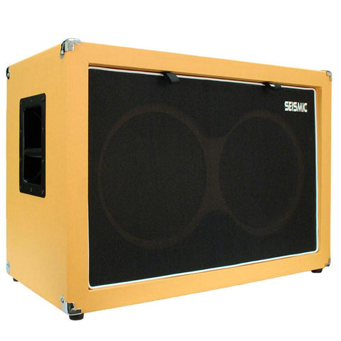 "Luke-2x12C - Contemporary Empty Dual 12"" Guitar Cabinet - Orange Tolex/Black Cloth Grill"