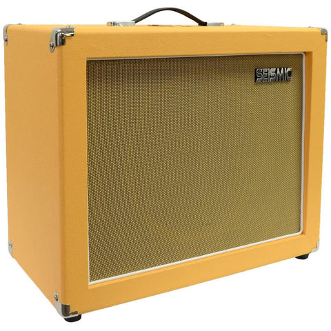 "Luke-1x12C - Contemporary Empty 12"" Guitar Cabinet - Orange Tolex/Wheat Cloth Grill"