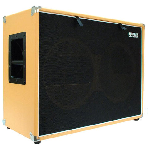 "Luke-2x12TR - Traditional Empty Dual 12"" Guitar Cabinet - Orange Tolex/Black Cloth Grill"