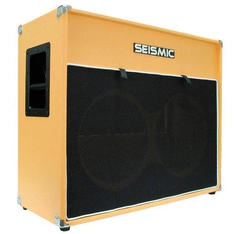 "Luke-2x12V - Vintage Empty 12"" Guitar Cabinet - Orange Tolex/Black Cloth Grill"