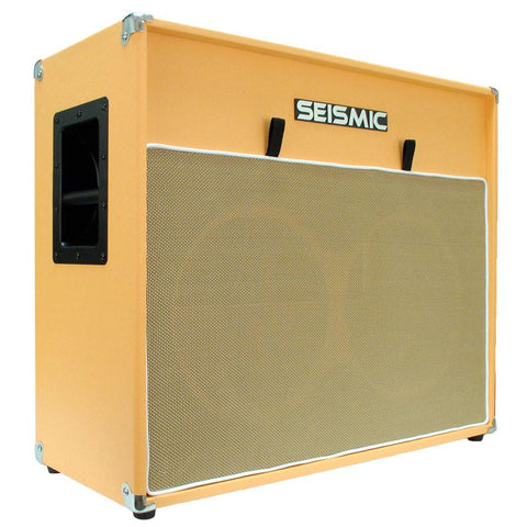"Luke-2x12V - Vintage Empty 12"" Guitar Cabinet - Orange Tolex/Wheat Cloth Grill"