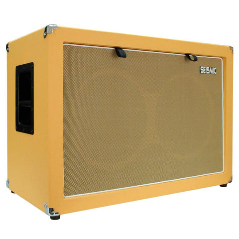 "Luke-2x12C - Contemporary Empty Dual 12"" Guitar Cabinet - Orange Tolex/Wheat Cloth Grill"