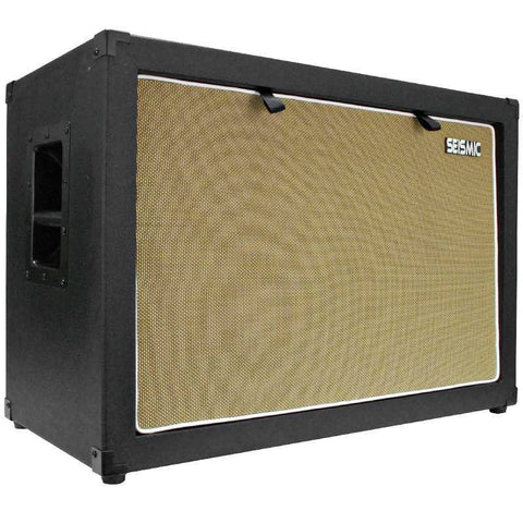 "Luke-2x12C - Contemporary Empty Dual 12"" Guitar Cabinet - Black Tolex/Wheat Cloth Grill"