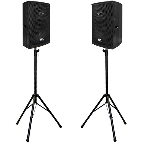 "Pair of Premium Active 15"" Full Range 2-Way Loudspeaker Cabinets with Stands"