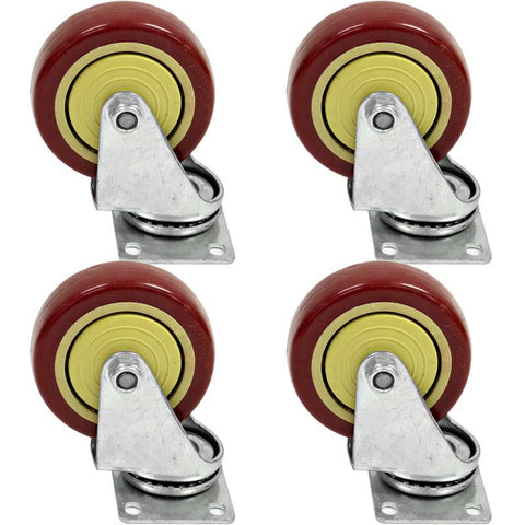 "Red Non-Locking 4"" Swivel Caster/Wheel (4 Pack)"