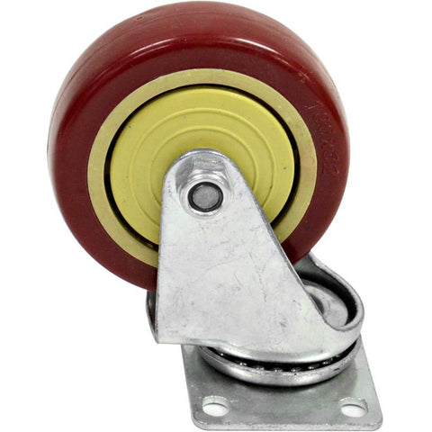 "Red Non-Locking 4"" Swivel Caster/Wheel"