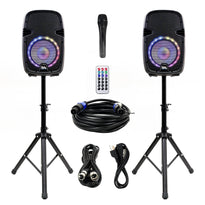 SA-KP10PG - Powered 10 Inch PA DJ Karaoke Party Speaker System with Stands - Bluetooth, LED Lights, Microphone, Cable and Remote
