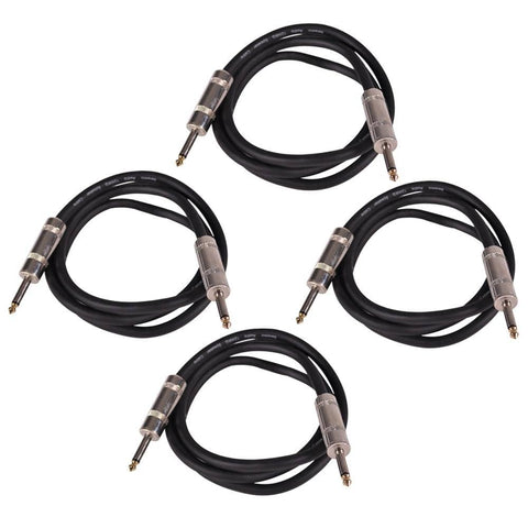 "Q12TW5 - 4 Pack of 5 Foot 1/4"" to 1/4"" Speaker Cables -12 Gauge 2 Conductor"