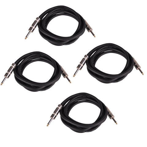"Q12TW10 - 4 Pack of 10 Foot 1/4"" to 1/4"" Speaker Cables -12 Gauge 2 Conductor"