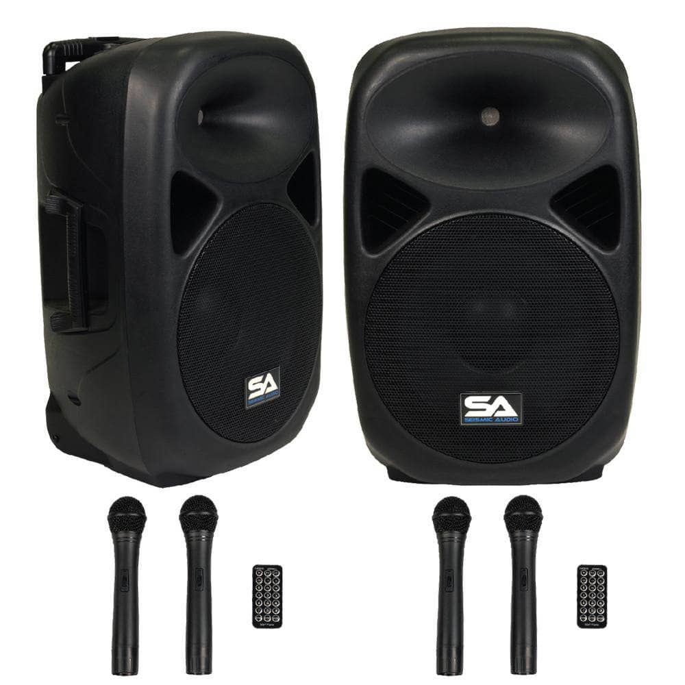 pair of powered 12 inch pa speakers rechargeable with 2 mics remote and bluetooth seismic. Black Bedroom Furniture Sets. Home Design Ideas