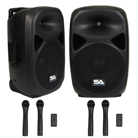 Pair of Powered 15 Inch PA Speaker - Rechargeable with 2 Mics, Remote and Bluetooth