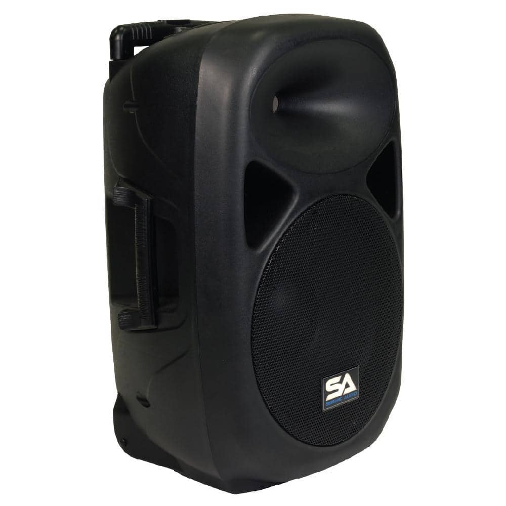 portable powered 12 inch pa speaker rechargeable with 2 mics remote and bluetooth seismic. Black Bedroom Furniture Sets. Home Design Ideas