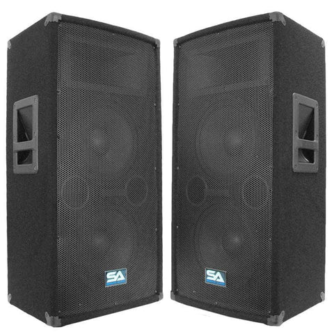 "SA-100T Pair of Dual 10"" Pro Audio PA/DJ Speaker Cabinets Titanium Horns"
