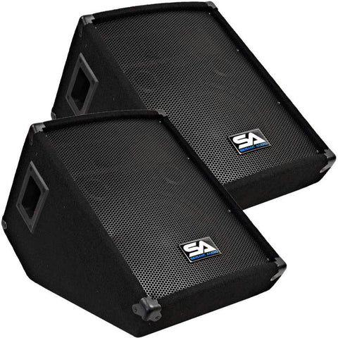 "SA-10M Pair 10"" Wedge Floor Stage Monitors Speakers"