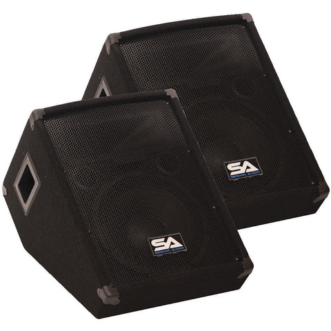 "SA-10MT Pair of 10"" Floor / Stage Monitors Wedge Style with Titanium Horn"