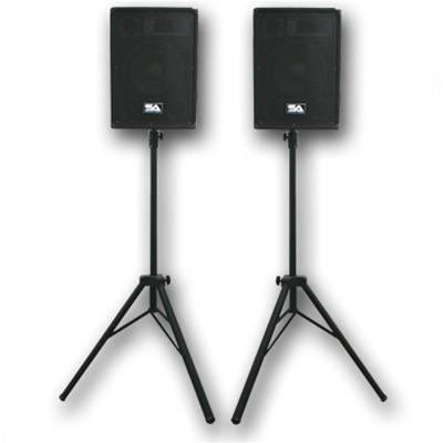 speakers with stands. pair of 10\ speakers with stands
