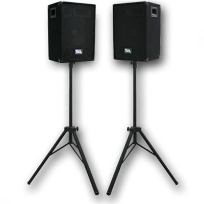 "Pair of 10"" PA Speakers with two tripod speaker stands"