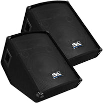 "SA-12MT Pair of 12"" Floor / Stage Monitors Wedge Style with Titanium Horn"