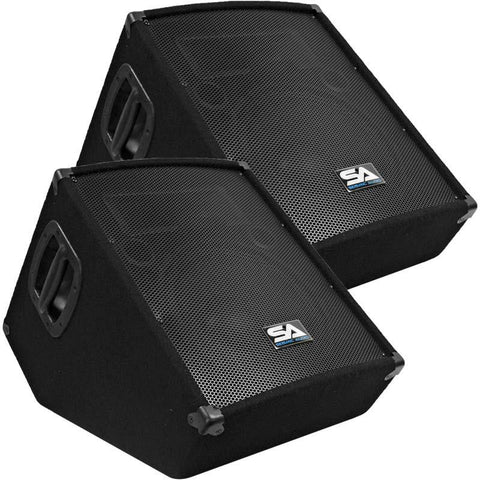 "SA-12MT-PW - Pair of Powered 2-Way 12"" Floor / Stage Monitor Wedge Style with Titanium Horn"