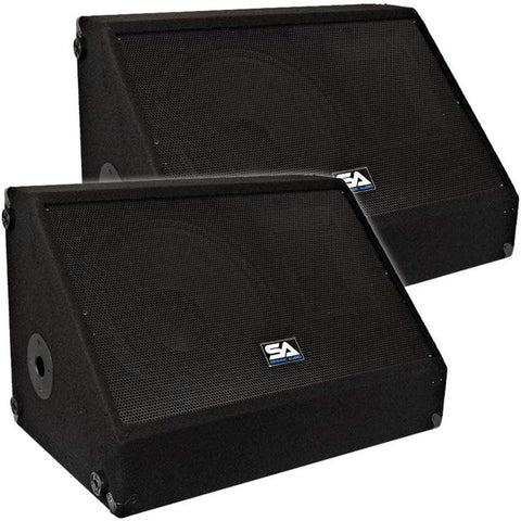 "Pair of 12"" Floor Monitors with Titanium Horns"