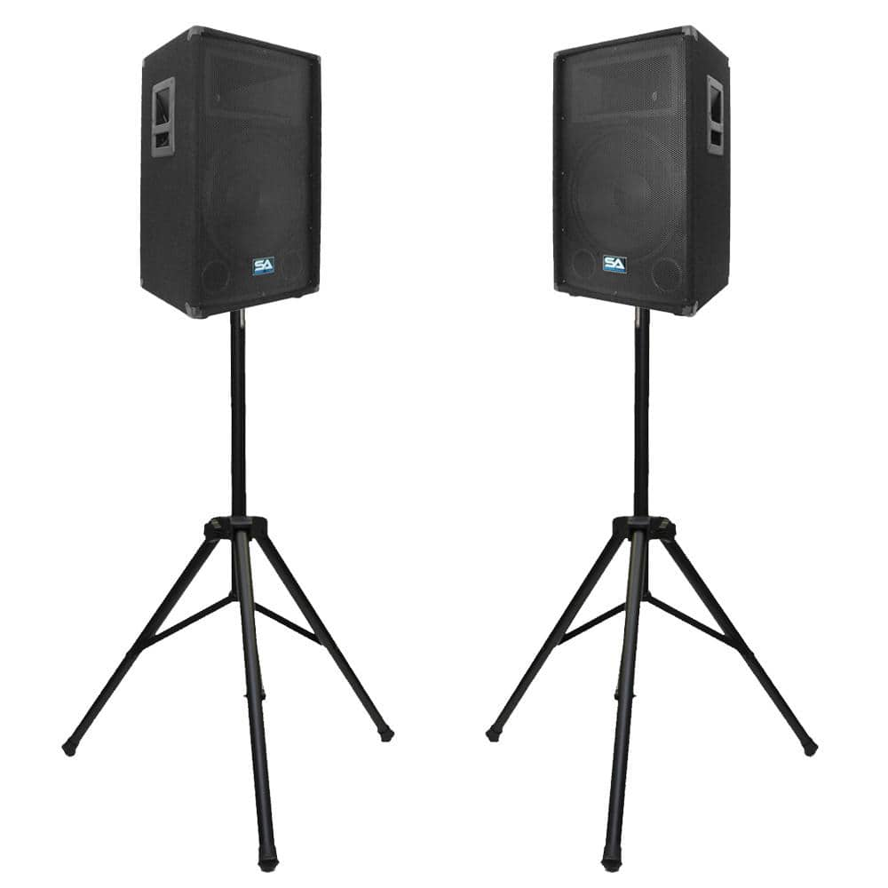 Pair Of 12 Quot Pa Speakers With Two Tripod Speaker Stands