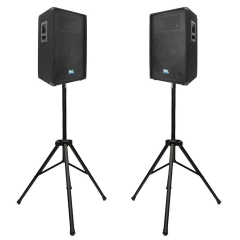 "Pair of 12"" PA Speakers with two Tripod Speaker Stands"