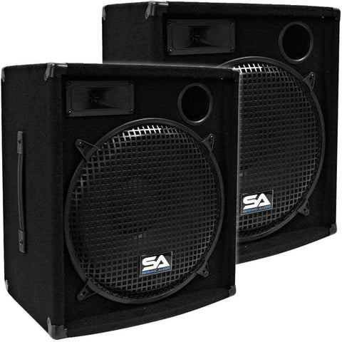 "SA-15.2 - Pair of 15"" Compact DJ / PA Speaker Cabinet"