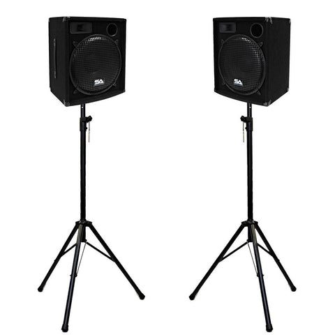 "Pair of 15"" Compact DJ / PA Speaker Cabinets and Tripod Stands"