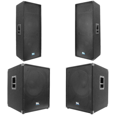 "Pair of Dual 15"" PA Speakers and Two 18"" Subwoofer Cabinets"