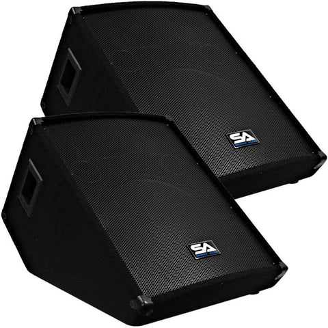 "SA-15MT - Pair of 15"" Floor / Stage Monitors Wedge Style with Titanium Horn"