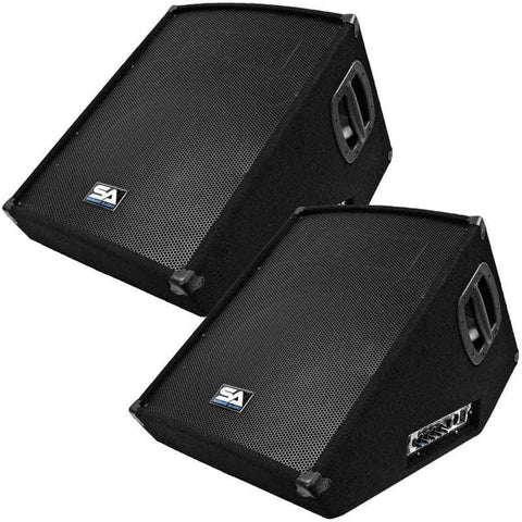 "SA-15MT-PW - Pair of Powered 2-Way 15"" Floor / Stage Monitors Wedge Style with Titanium Horn"
