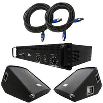 "Pair of 15"" Wedge Floor Monitors, Amplifier, and Cables (Add On)"