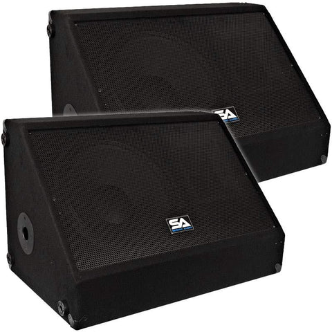 "Pair of 15"" Floor Monitors with Titanium Horns"