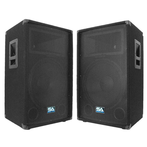 SA-15T - Pair of 15 Inch PA / DJ / Band Speaker Cabinets with Titanium Horns