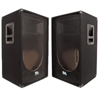 Pair of Empty 15 Inch PA / DJ / Band Speaker Cabinets with Titanium Horns