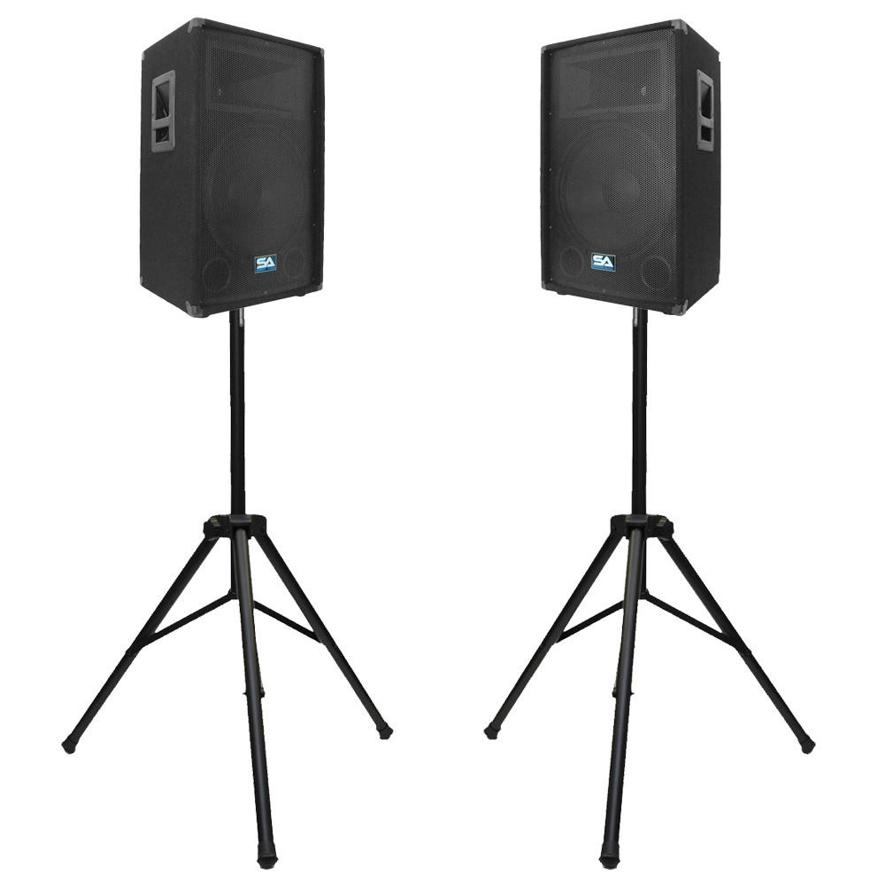 "Pair of 15"" PA Speakers and tripod speaker stands 