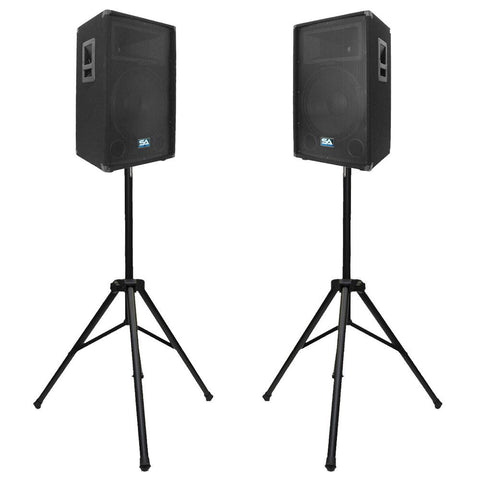 "Pair of 15"" PA Speakers with two tripod speaker stands"