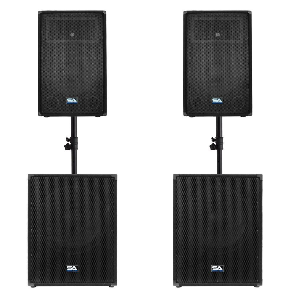 Pair Of 15 Quot Pa Speakers Pair Of 18 Quot Subwoofers And A