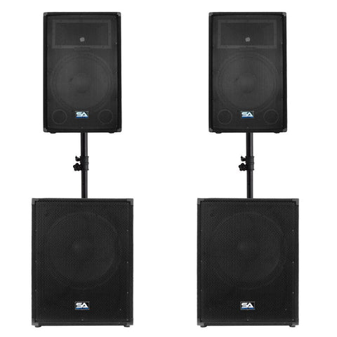 "Pair of 15"" PA Speakers, Pair of 18"" Subwoofers, Pair of Sub Speaker Poles"