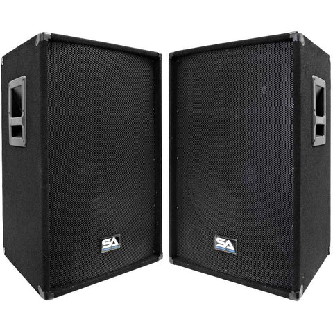"SA-15T-PW - Pair of Powered 2-Way 15"" PA / DJ / Band Speaker Cabinet with Titanium Horns"