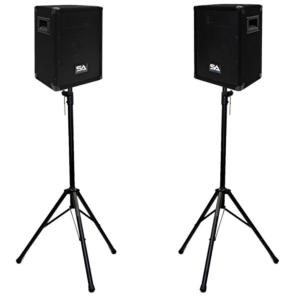 pair of 8 pa speakers and tripod speaker stands loud speakers for church karaoke pa dj. Black Bedroom Furniture Sets. Home Design Ideas