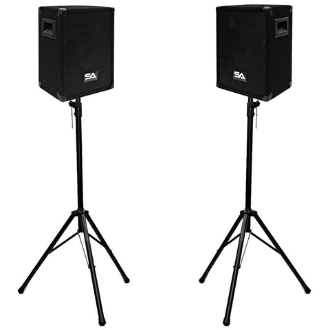 "Pair of 8"" PA Speakers with two tripod speaker stands"