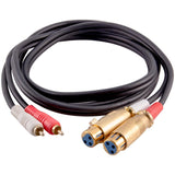 SA-DRCXLF6 - Premium 6 Foot Dual XLR Female to Dual RCA Male Patch Cable