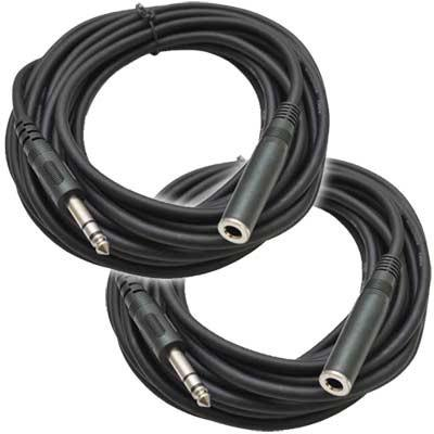 SA-HPE25 (2 Pack) - 25' Headphone Extender Cables TRS Male to Female