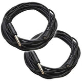 "SA-iEFRM25 - 2 Pack - 25' Headphone Extender Cables 1/4"" TRS Male to 1/8"" Female"