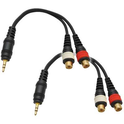 "SA-iEM2TRSF (2 Pack) - Male 1/8"" to Female RCA Patch Cable"