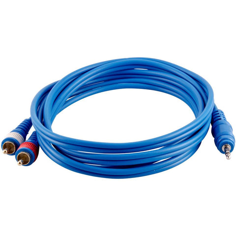 SA-iRCA6 - 6 Foot Blue 3.5mm Male to Dual RCA Male Audio Patch Cable