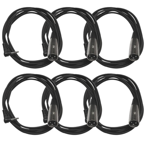 SA-iSTXMOX6 - 6 Pack of Right Angle 1/8 Inch TRS to XLR Male Patch Cables