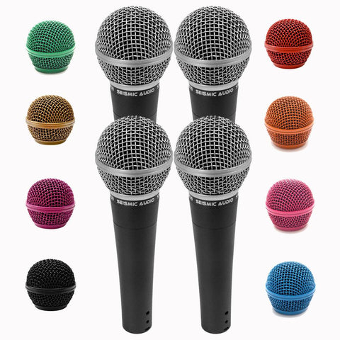 Four Pack of SA-M30 Dynamic Vocal Microphones with Interchangeable Steel Mesh Grill Heads